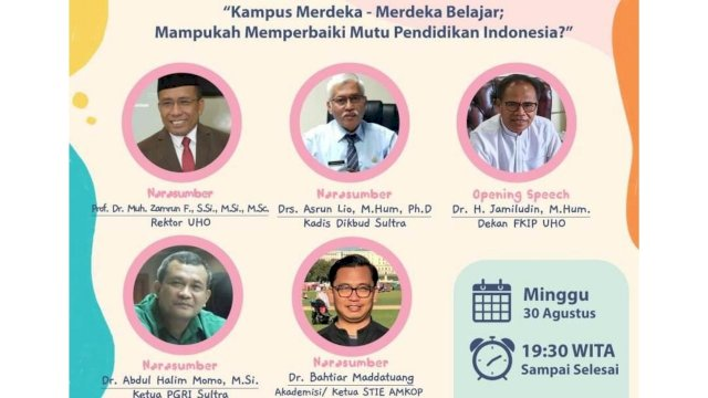 Di Webinar UHO, Bahtiar Maddatuang Tegaskan Peran Kampus Merdeka Bagi Kedaulatan Sultra
