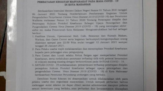 Diperpanjang Lagi, Pembatasan Jam Operasional Usaha di Kota Makassar Berubah