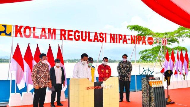 Resmikan Kolam Regulasi Nipa-Nipa, Presiden: Bermanfaat untuk Kurangi Banjir di Makassar