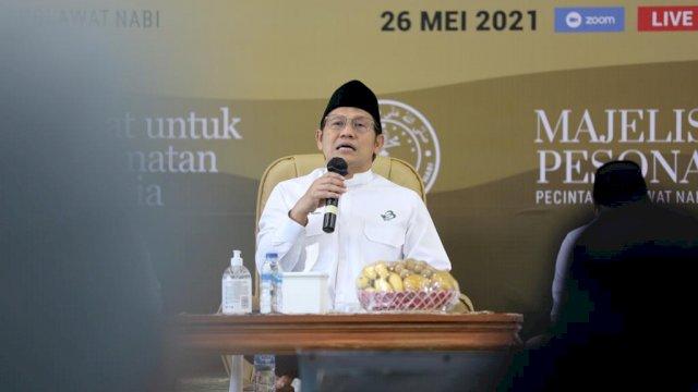 Gus AMI bersholawat untuk Keselamatan Dunia dan Doa untuk Palestina, wabah Covid-19, serta bencana lainnya di Kantor DPP PKB, Jakarta, Rabu 26 Mei 2021.