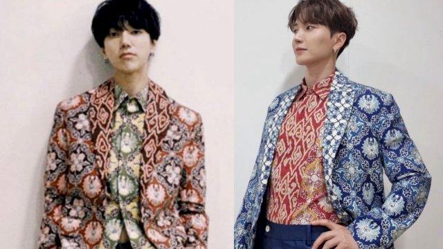Leeteuk Super Junior dan Yesung Super Junior mengenakan batik asal Jawa Barat dari rancangan Ridwan Kamil (Ist)