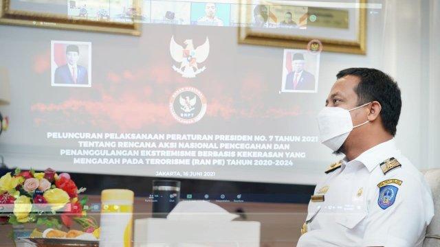 Plt Gubernur Sulsel Andi Sudirman Sulaiman ikuti Peluncuran RAN PE secara virtual, Kamis 17 Juni 2021