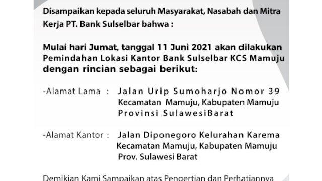 Pengumuman PT Bank Sulselbar