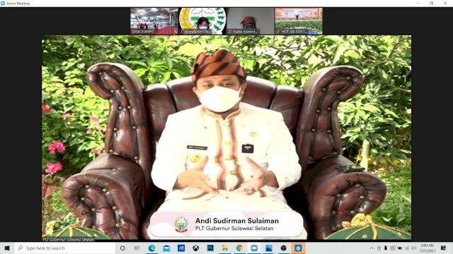 Plt Gubernur Sulawesi Selatan, Andi Sudirman Sulaiman menghadiri hari Jadi Kabupaten Toraja Utara ke-13 secara virtual, Rabu, 21 Juli 2021.