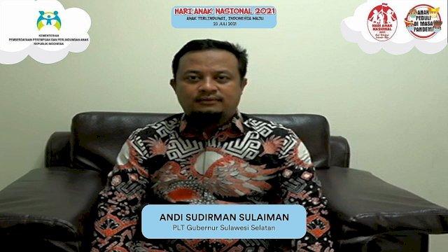 Plt Gubernur Sulsel, Andi Sudirman Sulaiman saat menghadiri Puncak Peringatan Hari Anak Nasional (HAN) 2021 yang digelar Kementerian Pemberdayaan Perempuan dan Perlindungan Anak (PPPA) Republik Indonesia, secara virtual, Jumat, 23 Juli 2021.
