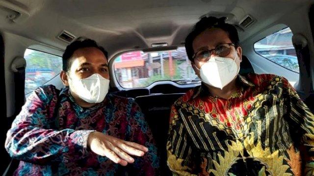 Staf Rektor UIN Alauddin Makassar, Fadlan L Nasurung (kiri) dan Jubir Presiden Jokowi, Fadjroel Rachman (kanan). Ist