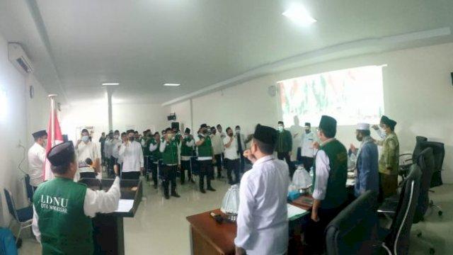 Pelantikan tiga lembaga PCNU Makassar di Aula Baznas Jln Teduh Bersinar, Kecamatan Rappocini, Minggu, 29 Agustus 2021.