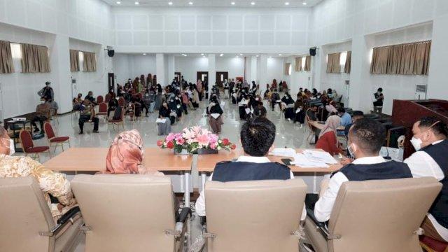 HMPI Korwil Sulawesi Selatan menggelar vaksinasi Covid-19 dengan bekerja sama Pemerintah Kabupaten (Pemkab) Gowa di Gedung Pendidikan Profesi Guru (PPG) Pesantren Madani, Jln Bontotanga Pao-pao, Kabupaten Gowa, Sabtu, 28 Agustus 2021.