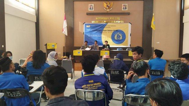 KLB PMII Cabang Makassar di Gedung Kopertais, Jln Talassalapang, Makassar, Sabtu, 4 September 2021.