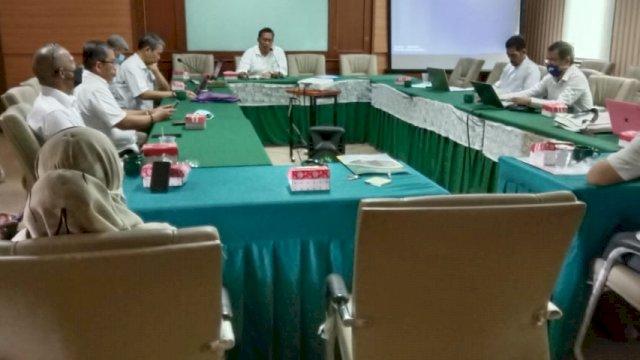Rapat evaluasi dan koordinasi persiapan Ujian Kompetensi Mahasiswa Pendidikan Profesi Guru (UMKPPG) angkatan pertama, Senin, 6 September 2021.