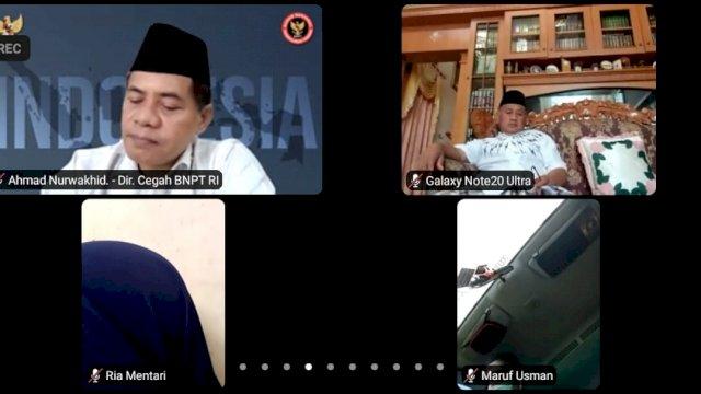 Klinik Deradikalisasi UIN Alauddin Makassar bersama Badan Nasional Penanggulangan Terorisme (BNPT), Pengurus Besar Darul Dakwah Wal Irsyad (DDI) dan Ikatan Cendekiawan Alumni Timur Tengah Indonesia (ICAT) mengadakan Webinar, Sabtu, 11September 2021.