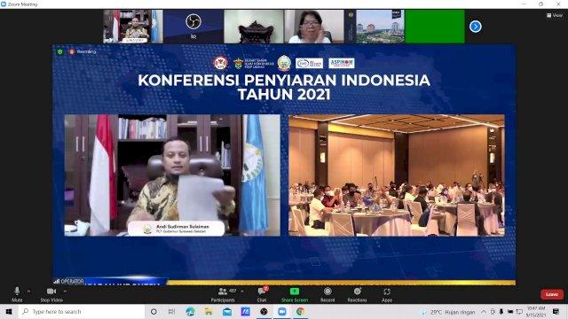 Plt Gubernur Sulawesi Selatan, Andi Sudirman Sulaiman membuka secara resmi acara Konferensi Penyiaran Indonesia 2021 secara virtual, Rabu, 15 September 2021.