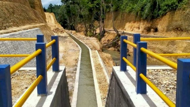 Pembangunan Bendung Lalengrie tahap II kini telah memasuki progres tahap pemgerjaan 85%