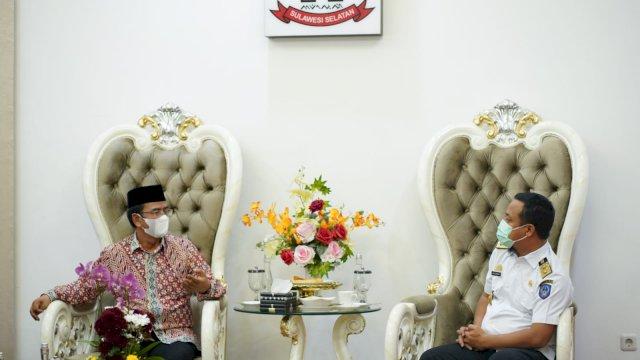 Kepala Kantor Kemenag Provinsi Sulawesi Selatan, Khaeroni audiensi dengan Plt Gubernur Sulsel Andi Sudirman Sulaiman di Rujab Wagub Sulsel, Rabu, 22 September 2021.