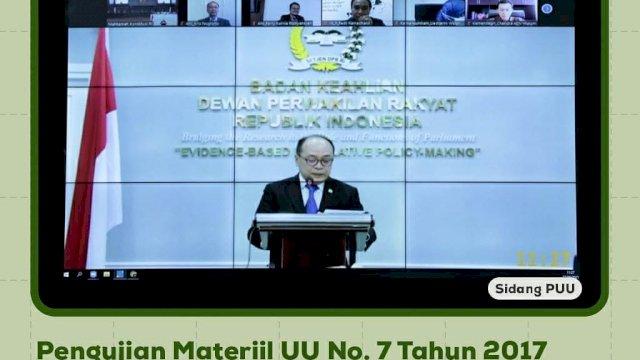 Supriansa tampil menjadi kuasa dari DPR RI di persidangan Mahkamah Konstitusi, Senin, 27 September 2021 (Foto: Tebaran.com/ Instagram MK)