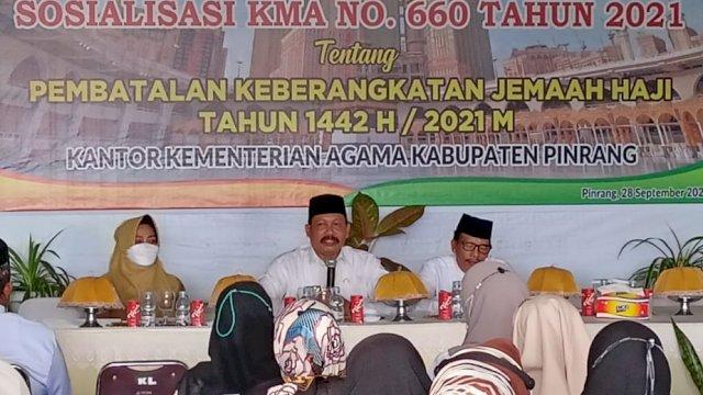 Sosialisasi KMA Nomor 660 Tahun 2021 di Aula Lantai 3 Koperasi Kemenag Maunah Kabupaten Pinrang, Selasa, 28 September 2021.