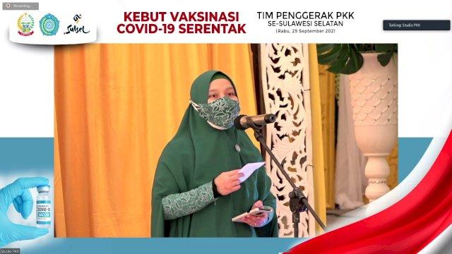Launching Kebut Vaksinasi Covid-19 serentak tim penggerak PKK se-Sulsel yang diselenggarakan oleh PKK Sulsel di Gedung Kartini, Jalan Masjid Raya Makassar, Rabu, 29 September 2021.