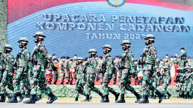 Upacara Penetapan Komponen Cadangan Tahun 2021 di Pusat Pendidikan dan Pelatihan Pasukan Khusus Bandung.