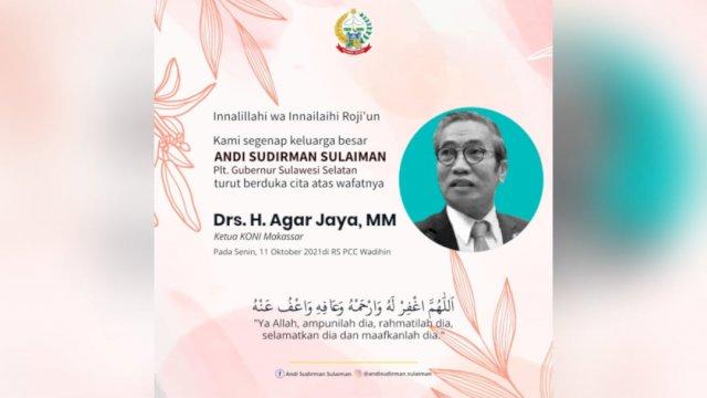 Ucapan belasungkawa Plt Gubernur Sulsel Andi Sudirman Sulaiman atas wafatnya Ketua KONI Makassar.