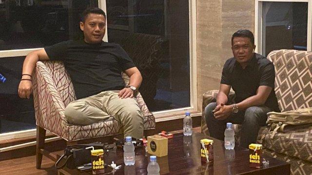 Ketua Kadin Sulsel Andi Iwan Darmawan Aras (kiri) dan Ketua Panitia Mukab Kadin Kabupaten Wajo, Sultan Tajang (kanan).